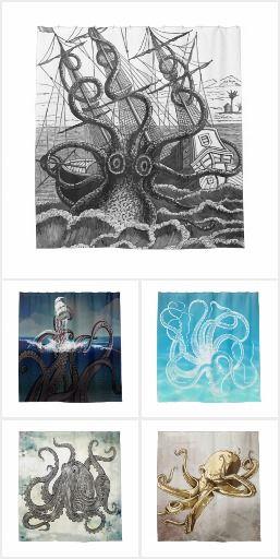 Giant Octopus Kraken Shower Curtains #ShowerCurtains #BathDecor #Kraken