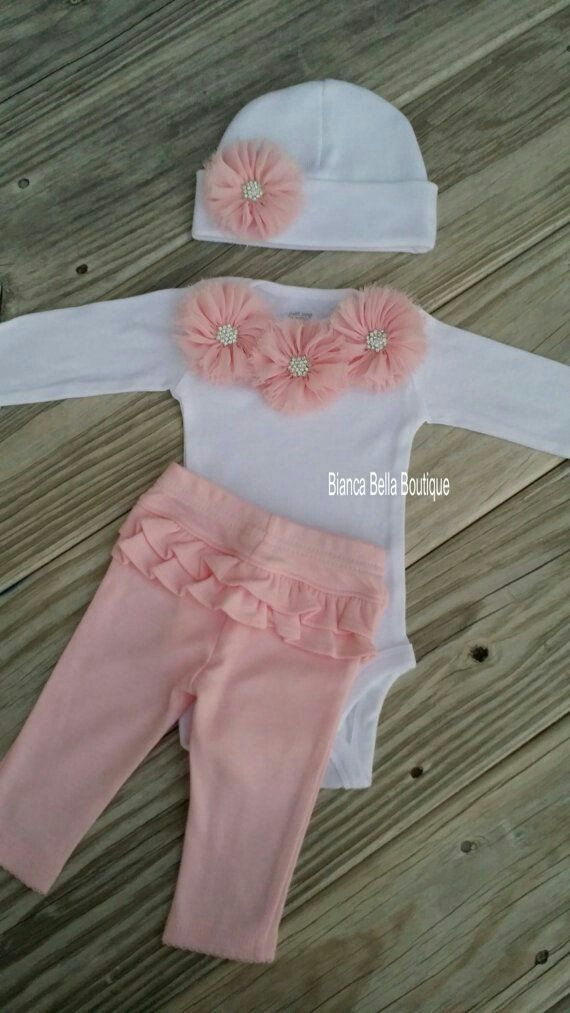 Pink And White Newborn Take Home Outfit