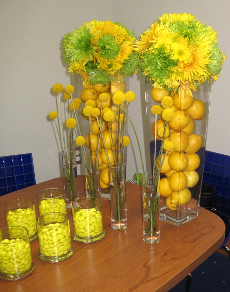 Blue and yellow table decorations lets paaaartay party