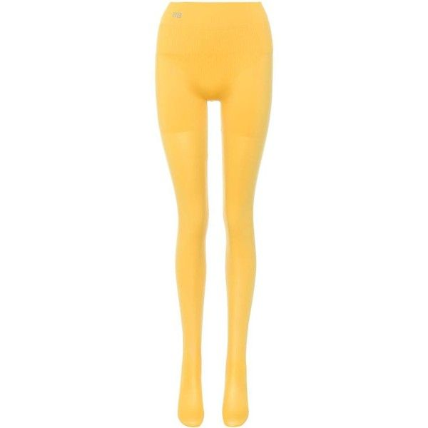 Balenciaga Opaque Tights ($110) ❤ liked on Polyvore featuring intimates, hosiery, tights, yellow, yellow tights, opaque stockings, opaque pantyhose, balenciaga and yellow stockings