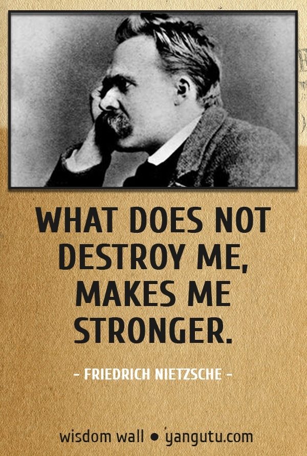 What does not destroy me, makes me stronger, ~ Friedrich Nietzsche Wisdom Wall Quote #quotations, #citations, #sayings, https://apps.facebook.com/yangutu