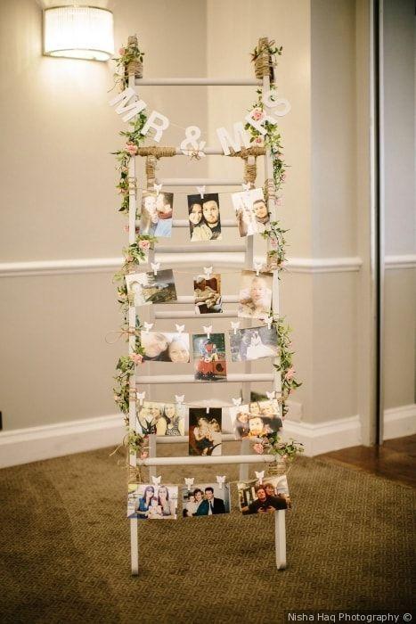 Hochzeitsfoto Dekoration Wandidee mit Polaroid Bildern {Nisha Haq Photography}