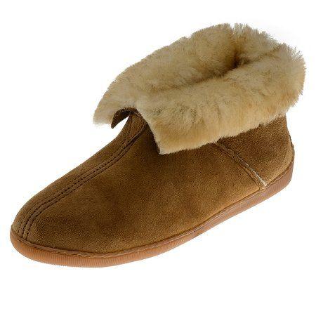 Minnetonka Moccasins 3751 - Men's Sheepskin Ankle Boot Slipper - Golden Tan
