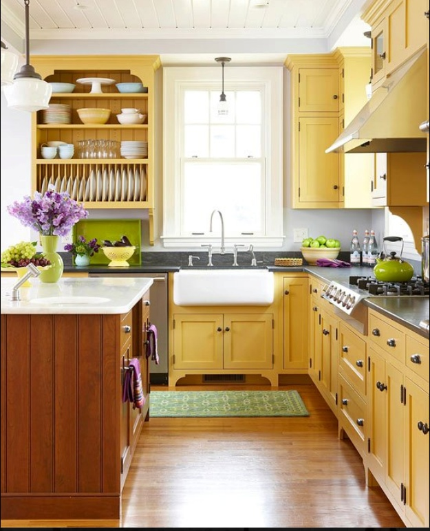 Yellow Kitchen With Green And Purple Accents