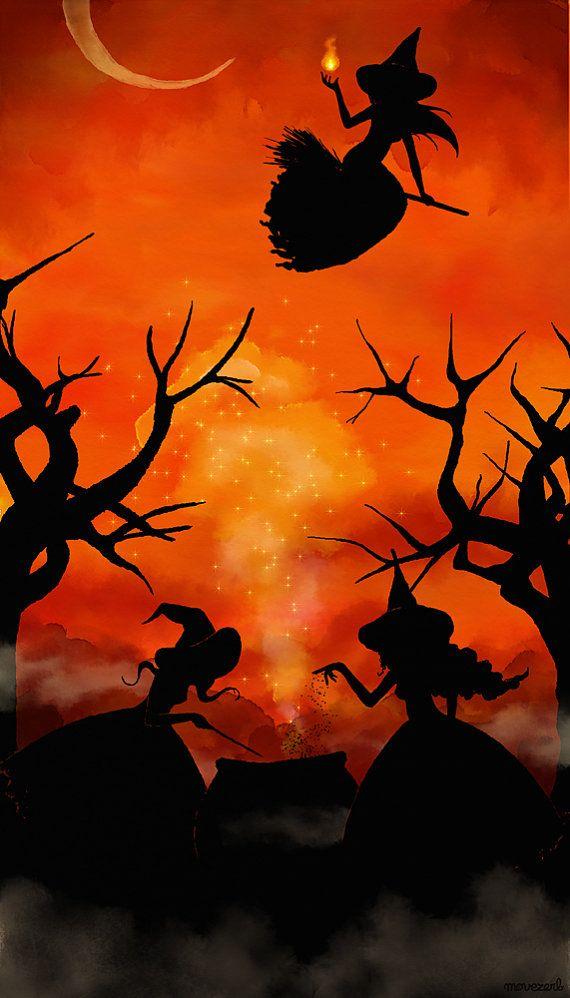 La nuit des trois sorcières  Signed print by movezerb on Etsy