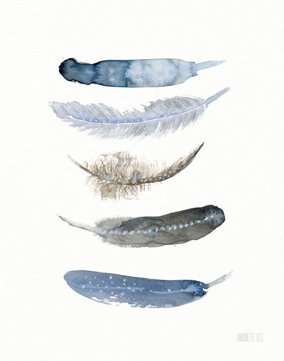Feather art work. Feather art print from original watercolor painting by Annemette Klit. Blue art print of bird feathers. Giclee artwork