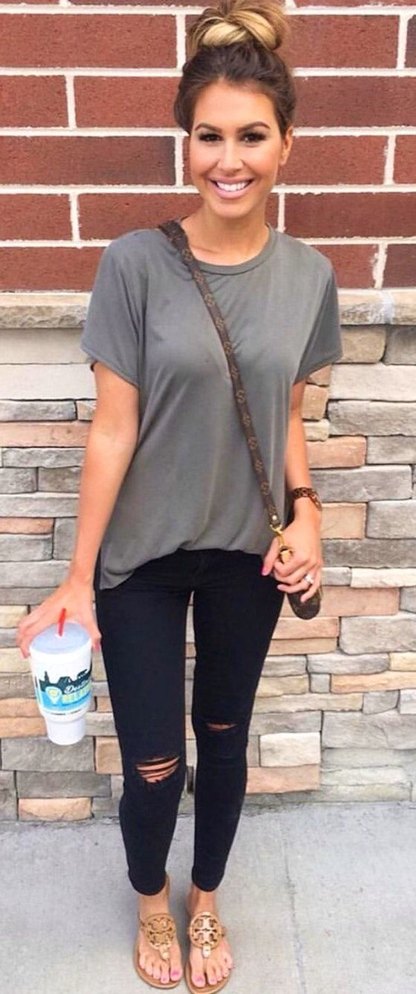 summer outfits Grey Tee + Ripped Skinny Jeans