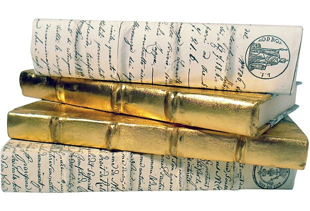 Design-Blogger Tag Sale  Gold & Cream Decorative Books, Set of 4