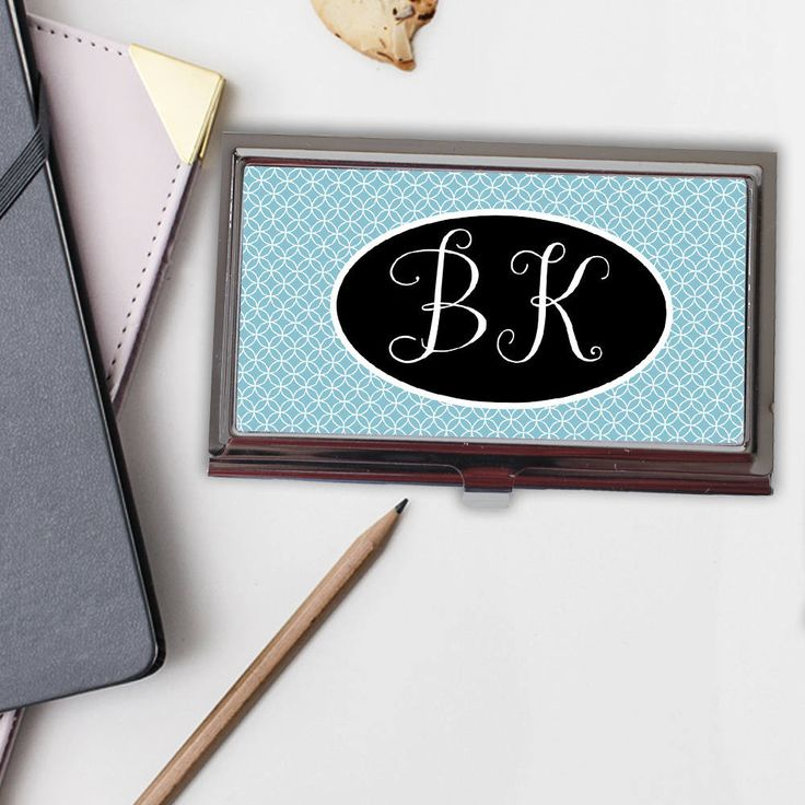 Monogram Business Card Case - Monogram Gift for Her - Business Card Holder - Aqua Blue Business Card Case