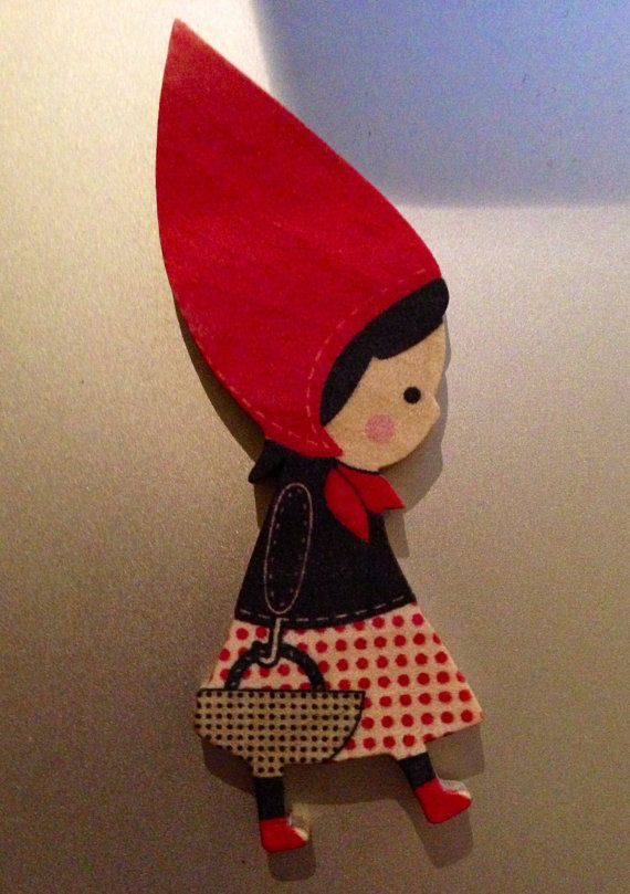 Little Red Riding Hood Brooch by KatieHootie on Etsy, $8.00