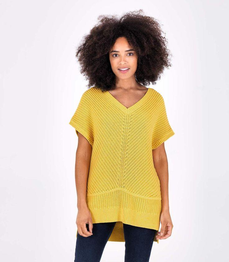 Womens 100% Cotton Sleeveless Rib Knit Jumper Yellow Marl / Style Code: T23L #pure #cotton