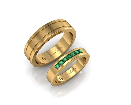 Wedding Band 02 . Gold with Emerald & Wedding Band 10 . Gold by  www.yicethrico.com