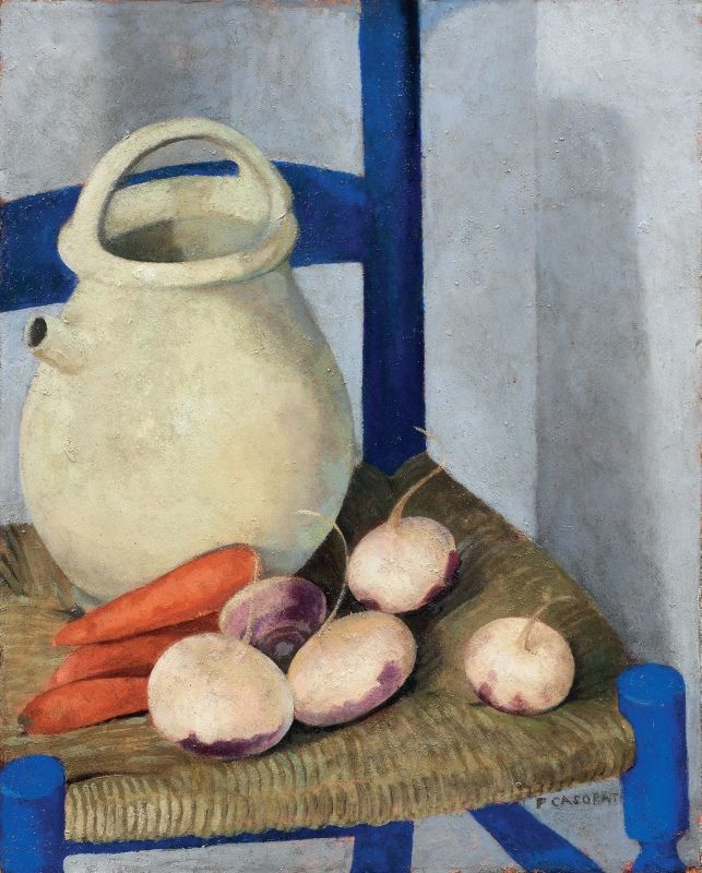 Felice Casorati (Italian, 1883-1963) - Sedia azzurra e rape (Rape e brocca) [Blue chair and turnips (Turnips and pitcher)], 1927. Oil on cardboard, 54.5 x 43.5 cm.