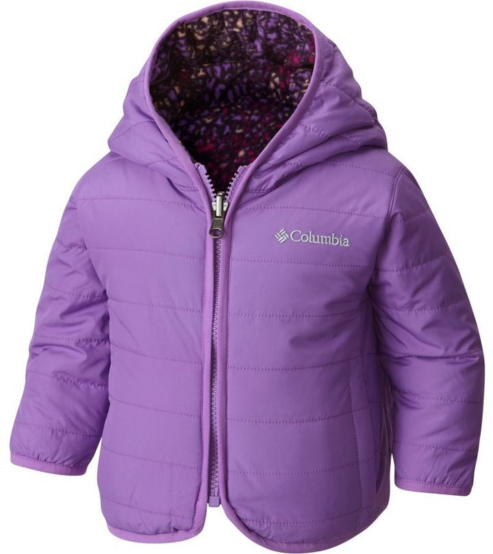 The Columbia Double Trouble Jacket for Toddler girls is a reversible jacket that is loaded with 100g Microtemp XF II insulation and both sides are coated with Omni-Shield for advanced repellency.  The interior of this fleece lined jacket is soft and VERY warm.