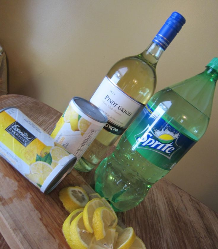 Sparkling Lemonade Punch-Pinot Grigio, lemonade and Sprite makes a delightful and refreshing punch.