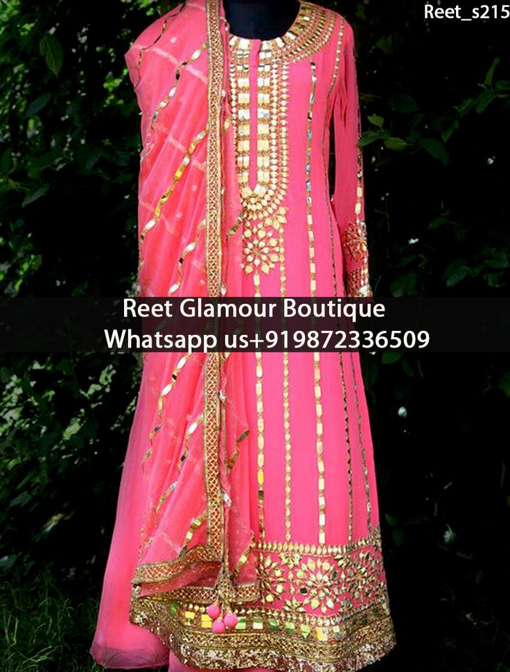 Stunning Pink Embroidered Anarkali Suit Product Code : Reet_s215 Stunning Pink…