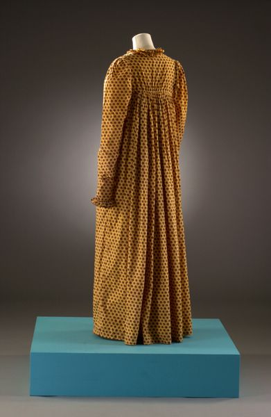 Mustard-Yellow Dress with All-Over Red Spotted Print; Woven & Printed Cotton. English, 1808-1812.