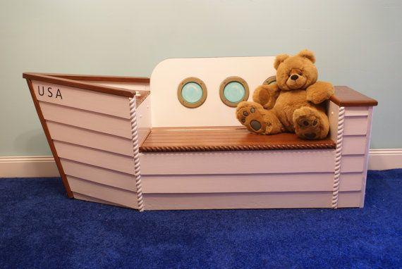I LOVE this bench Rich made!!  XX Children's boat bench toybox nautical Coastal by Adamzoriginals, $650.00