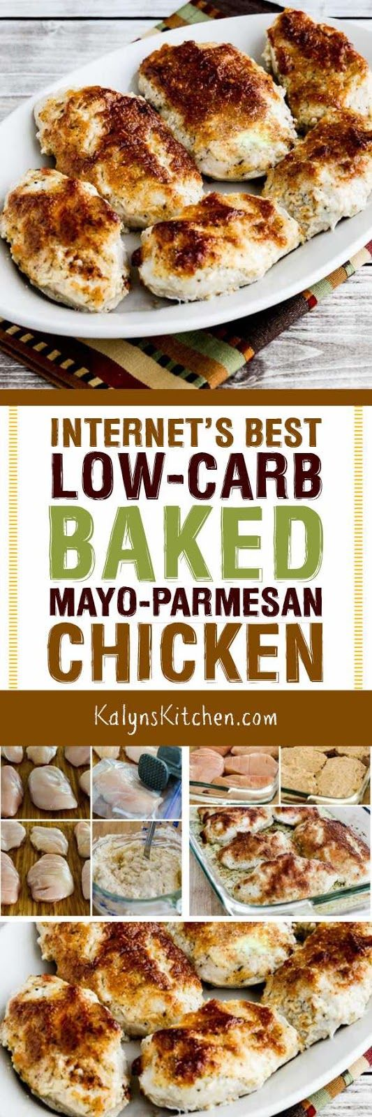 I saw versions of this Internet's Best Low-Carb Baked Mayo-Parmesan Chicken with rave reviews all over the web; here's my version of this internet classic and it's low-carb, Keto, low-glycemic, gluten-free and could be a treat for the South Beach Diet with lighter mayo. [found on KalynsKitchen.com] #LowCarbBakedChicken #LowCarbMayoParmesanChicken #InternetsBestBakedChicken
