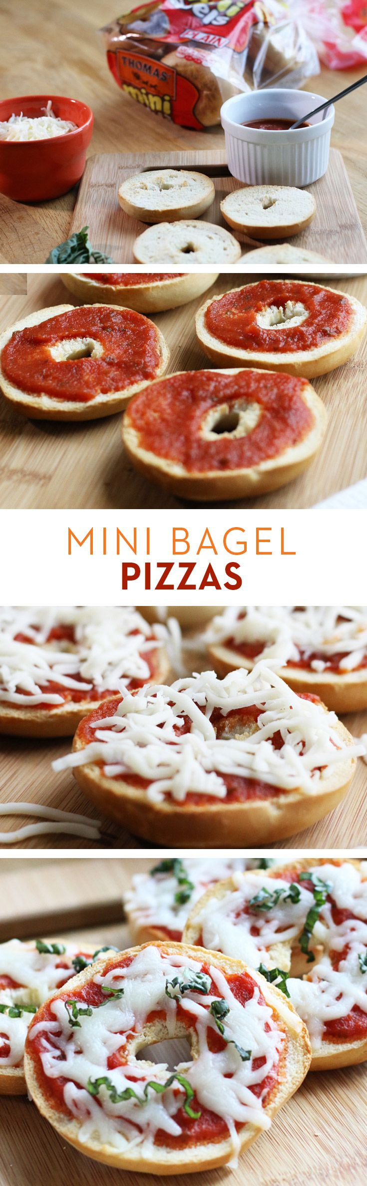 Mini Bagel Pizzas: Top Thomas' Mini Bagels with your favorite pizza sauce, Mozzarella and fresh basil for irresistible, bite-size snacking.