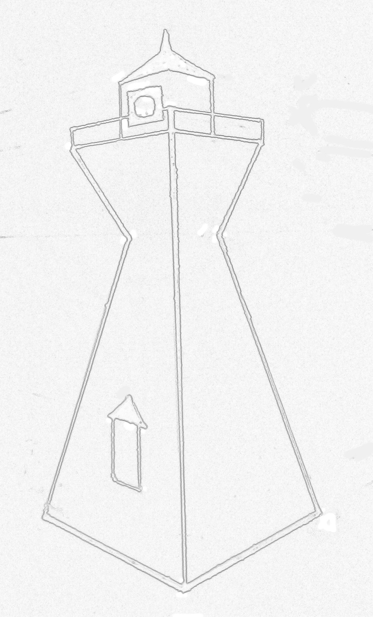 stylized line drawing of range light at Victoria Harbour, Ontario, Canada
