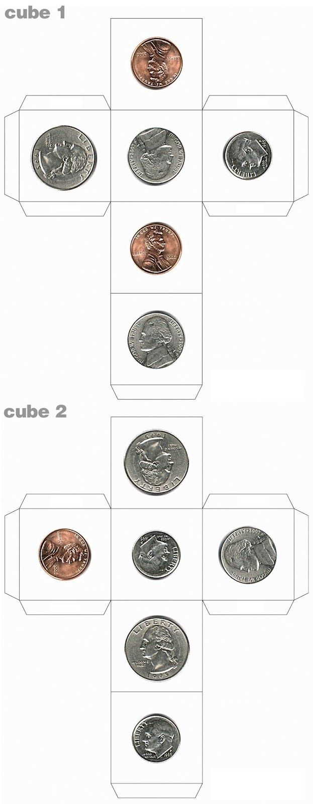 money cubes - i suggest you just hot glue real/fake money onto a wooden die.  lots of good activities you can make up for students from pre-school to older.