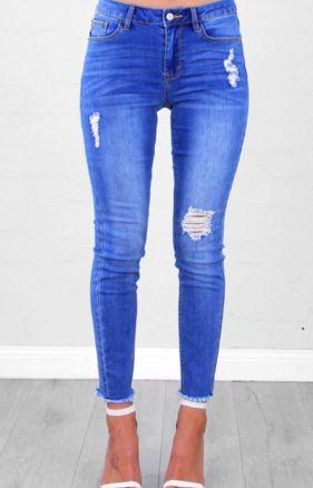 High Waisted Skinny - Hem Jeans