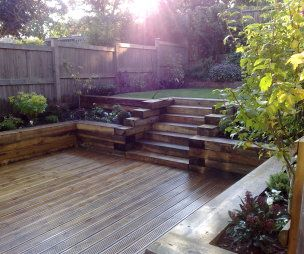Best 25 sunken patio ideas on pinterest garden seating for Split level garden decking
