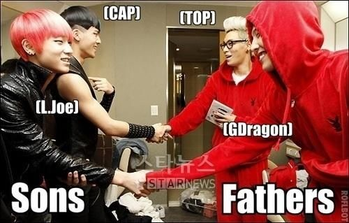 Haha. I feel like LJoe brought his boyfriend (CAP) home to meet his dads ( GD and TOP)