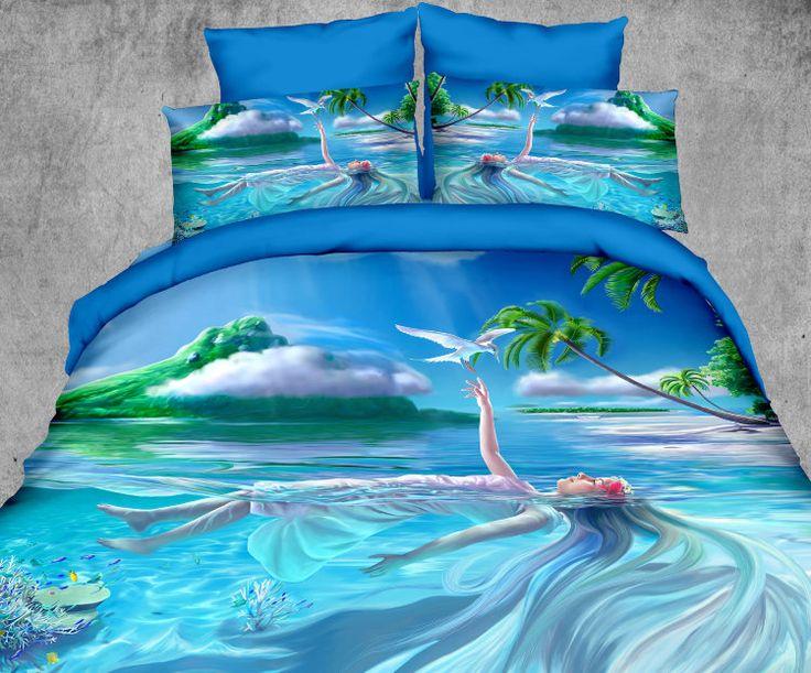Необыкновенно красивое сатиновое хлопковое постельное белье, суперсатин, хлопок 100%, Kingsilk, Seda, арт. px-15 Фотопечать с эффектом 3d. Рисунок: девушка в море, тропический рай. Голубого цвета. Размеры, описание, характеристики, низкие цены, скидки, недорого, доставка.