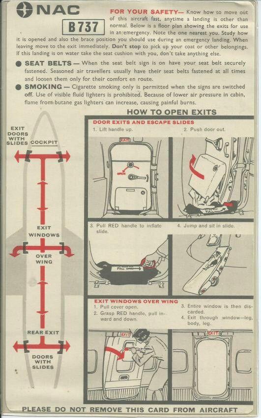 NAC B737 safety card