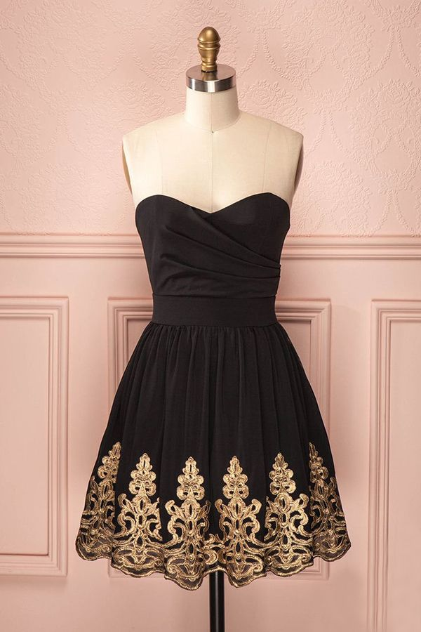 A-Line Sweetheart Knee-Length Black Satin Homecoming Dress with Appliques