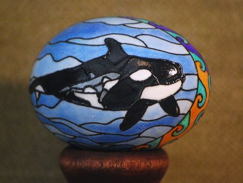 Orca Egg from Eklektik Kreations by Katie http://eklektikkreations.storenvy.com/ Killer whale stained glass baby chicken eclectic wood intarsia pysanky ukrainian art eggs segmentation marquetry sculpture wall animal sale scroll saw natural grain decor home house products hand made painted glass glasses wine gifts Easter wax dye decorative  glass decoration personalized name custom orders pet portrait sign