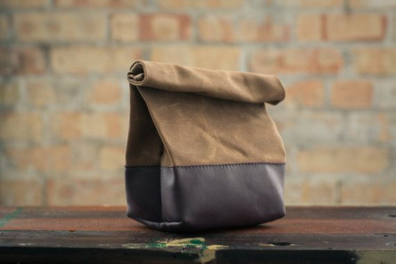 Waxed Canvas and Leather Lunch Bag - Brush Brown/Brown auf Etsy, CHF 61.45