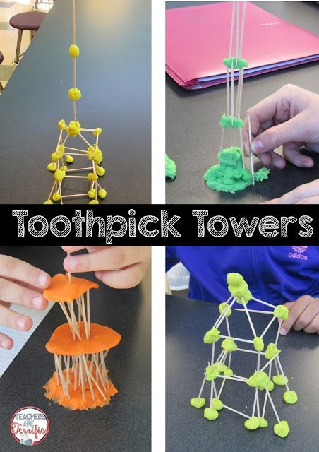 STEM Challenge: Toothpick towers! Students all have the same supplies, but they build completely different structures! Each group adds its own special ideas!