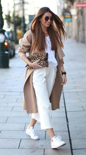 bartabac Fashion blog | leopard clutch | white sneakers outfit | camel coat |