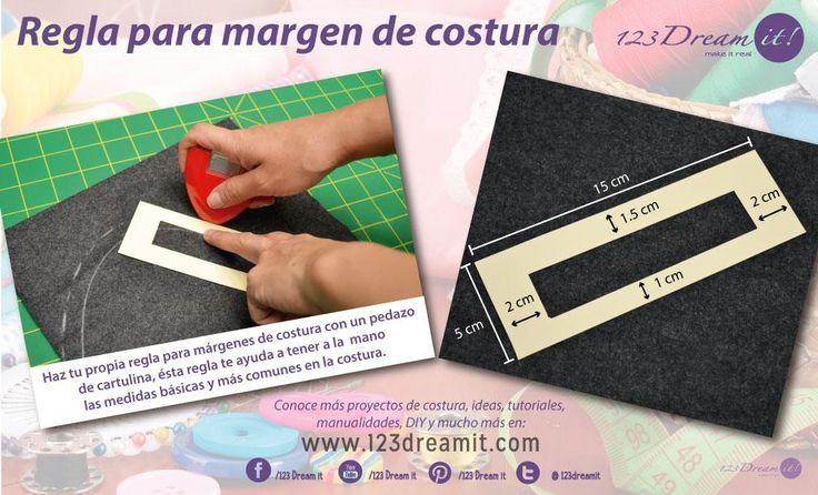 Haz tu propia regla para márgenes de costura con un pedacito de cartulina como mostramos en la imagen con las medidas más usadas. Depende el lado que uses será el margen de costura que utilices. Puedes dar click en la imagen para ampliarla.