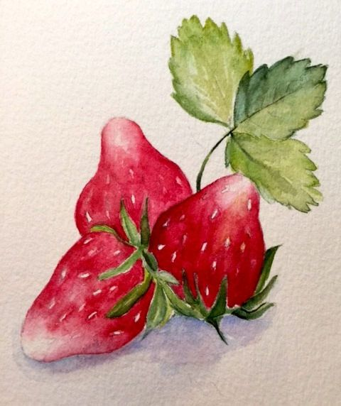 Three Strawberries - Watercolor