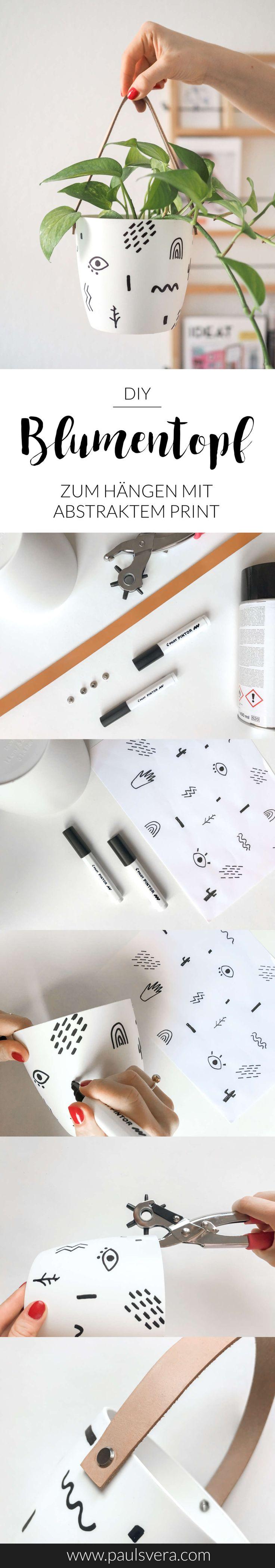 DIY-Hängeblumentopf mit Lederriemen und abstraktem Print für dein modernes Zuhause! Die Anleitung zum Selber Machen und viele weitere DIY Deko Ideen gibt's hier