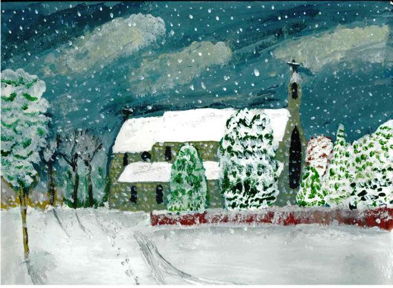 Snowy Church at Rathdrum in Wicklow via Etsy