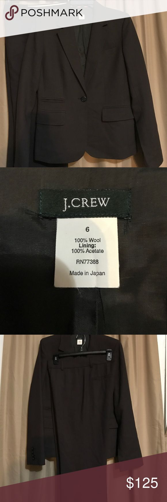 NWOT! J Crew Suit Seperates Size 6 stunning This is a two piece chocolate brown suit by J Crew, each piece is 100% wool and lined. Interior pocket is found in the inner right side piped in pink! Pretty. The jacket had 3 front pockets when the a sliming design. Pants and jacket are a size 6. Pants are an original design with slimming two front and back pockets. Worn once. Paid $375, piece can be sold separately. A steal' J. Crew Pants Trousers