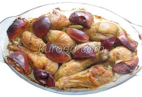 куриные голени, запеченные в духовке  с яблоками
