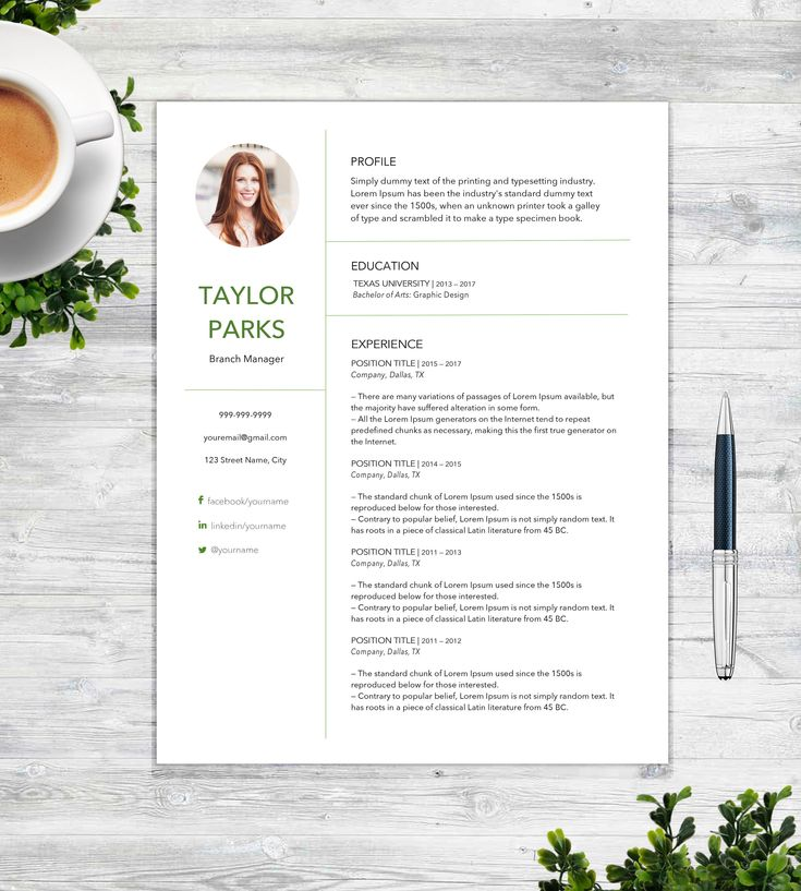 "Resume and Cover Letter Template for Word  | The ""Taylor Parks"" 