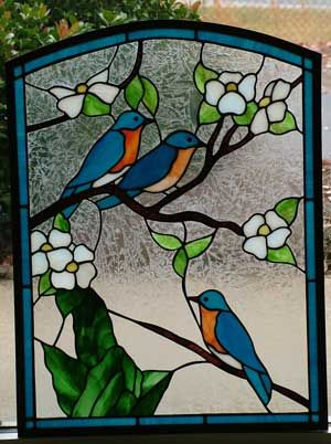 bird stained glass | Blue Bird Stained Glass Pattern by Sebastian
