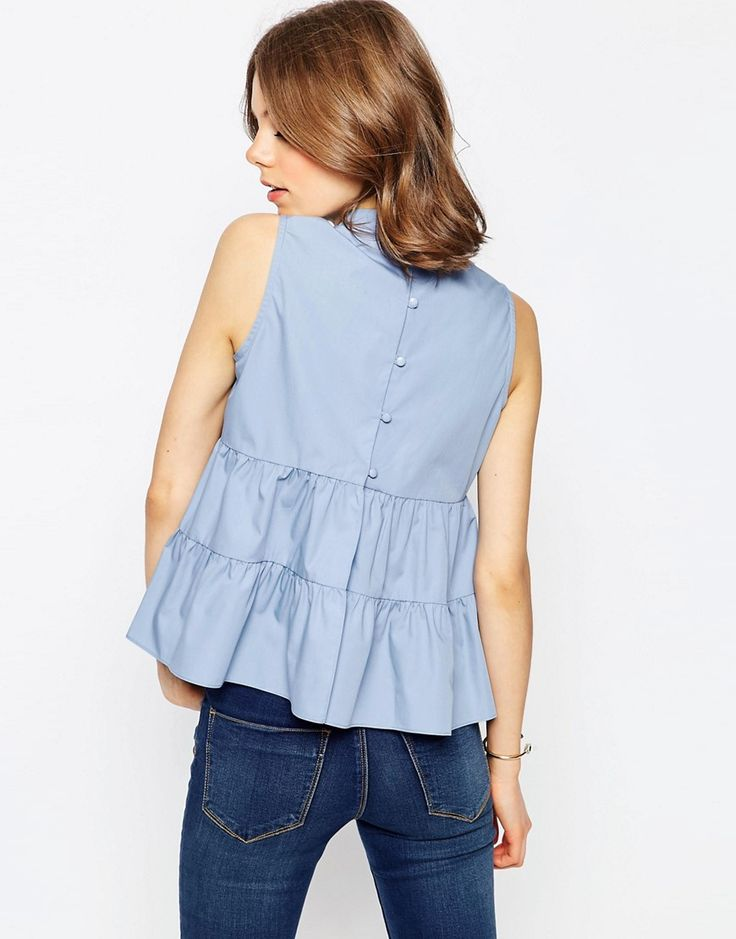 Image 2 of ASOS High Neck Sleeveless Tiered Cotton Top
