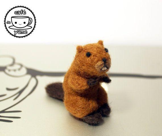 Needle Felted Mini Beaver Christmas Ornament by CafeDeYume on Etsy
