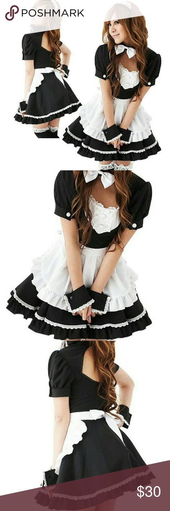 French Maid Dress Lolita Cosplay Costume Halloween Like New  Unworn 5 pieces costume: Dress with bow tie Apron Headband Cuffs X 2   Suggested size: One size fit most from XS to Medium Bust: 79 to 87cm  Waist: 64 to 70cm Hip: 87 to 95cm  Bought during my trip to Japan Great for Halloween or cosplay Skirts Skirt Sets