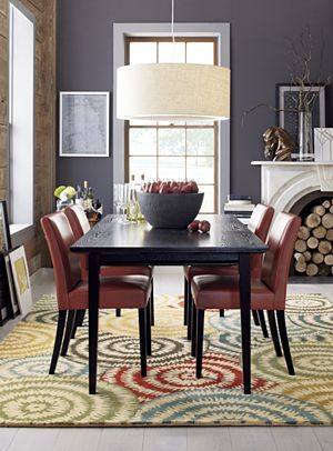 Sheepskin ivory throw rugs dining room lamps crate and for Crate and barrel dining room ideas