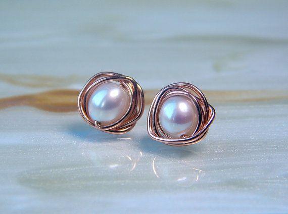 Pearl 14k Rose Gold Stud Earrings, Pearl Earrings, Freshwater Pearls, Wedding Jewellery, June Birthstone, Gifts, Bridesmaids Gifts,
