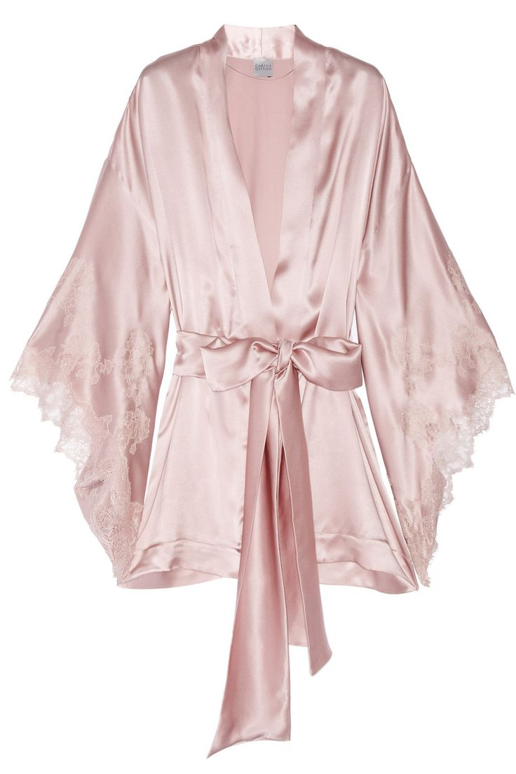Carine Gilson|Thème Louise lace-trimmed silk-satin kimono robe|NET-A-PORTER.COM